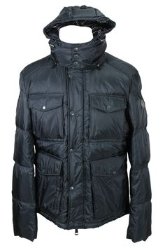 Stay warm outside with this solid grey nylon puffer jacket made by Harbour and heavily discounted from the retail price. We take all our own photos to present you with realistic and vivid detail. Chest: 35 | Overarm: 17. Four front pockets with flaps and snaps. Detachable hood that snaps across the neckline. Snaps and zips down the front. Black interior. Lined stitched detailing on the exterior. Two inside pockets with zippers. Striped and ribbed detailing on the inner lining of the collar.