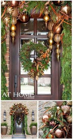 Love the gold and brown ornaments in this Christmas garland for front door