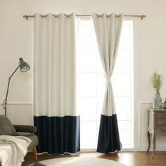 Shop for Aurora Home Faux Silk Colorblock Blackout Curtain Panel - 52 x Get free delivery On EVERYTHING* Overstock - Your Online Home Decor Outlet Store! Two Tone Curtains, Color Block Curtains, Drapes And Blinds, Beige Curtains, Drapes Curtains, Diy Blackout Curtains, Curtains Living, Drapery, Boys Bedroom Curtains