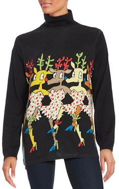 Whoopi Goldberg Dancing Reindeer Jingle Bell Ugly Christmas Sweater