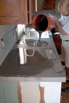 DIY Concrete Counters Poured over Laminate!