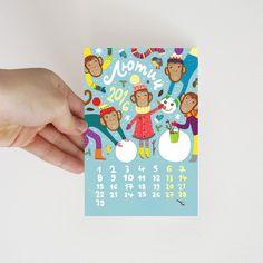 "Set of 12 postcards ""Funny monkey"" on Behance #postcrossing #post #card #postcard #monkey #newyear #открытка #посткроссинг #обезьяна #winter #february #fun #snowman #зима #февраль #веселье #снеговик #мороз #снег #frost #snow"
