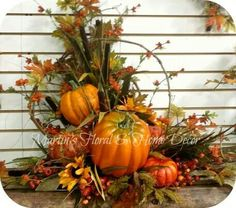 Pumpkins and leaves, fall is around the corner. Fall Flower Arrangements, Primitive Fall, Autumn Decorating, Autumn Centerpieces, Fall Decorations, Thanksgiving Decorations, Fall Home Decor, Holiday Decor, Autumn Wreaths
