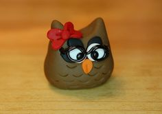 polymer clay owl nerd gal with glasses by SMarrtCreations on Etsy, $8.00