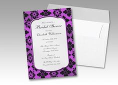 vintage purple damask bridal shower invitations