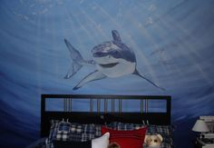 miscellaneous - Wall, design, and, application,  Amazing mural of shark over boys bed! You can even see the light shining thru the water!  T...