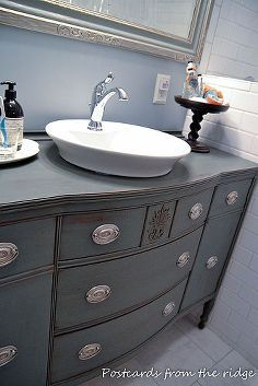 re purposing our dining room buffet into a bathroom vanity, bathroom ideas, painted furniture, repurposing upcycling