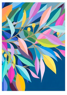 Limited Edition Print – Evening Leaves — CLAIRE ISHINO I chose this pin as my group and I wish to use vibrant and bright colours in our designs. We hope that these choice of colours will evoke a sense of fun and excitement amongst our viewers. Illustration Blume, Guache, Arte Pop, Gouache Painting, Blue Painting, Leaf Art, Pattern Art, Pattern Painting, Painting Inspiration