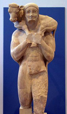 Moscòfor circa 575-560 aC al museu de l'Acròpolis d'Atenes. Escultura arcaica.