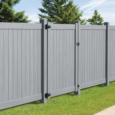 Freedom (Common: X Actual: X Hampton Woodgrain Gray Vinyl Flat-Top Vinyl Fence Gate Kit 7302 Grey Fence Paint, Painted Wood Fence, Modern Wood Fence, Wooden Fence, Vinyl Gates, Vinyl Fence Panels, Vinyl Privacy Fence, Side Gates, Fence Gates