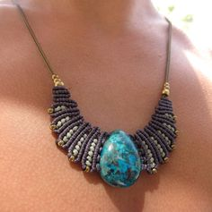 macrame necklace with chrysicolla by Rommymacrame on Etsy