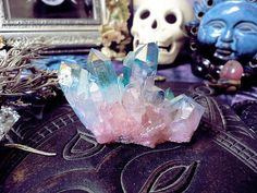 blue and pink, crystal points, and blue aura quartz image