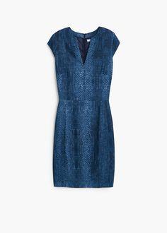 Blue snake skin printed MANGO dress