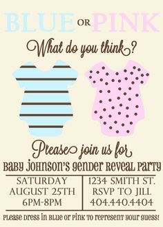 Gender Reveal Party Invitation Announcement by CarissaHoseaDesigns, $15.00