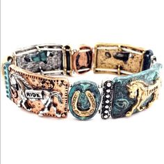 Western Themed Stretchable Bracelet Brand New Western Stretchable Bracelet Design - Stretches to Fit Most  Patina Tricolors  Features Iconic Western Elements: •Horseshoe •Horses  Made from Alloy Metal Jewelry Bracelets