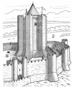 challenging castle of conisbrough advanced coloring pages for adults