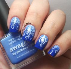 The Clockwise Nail Polish: Light It Up Blue Movement: Autism Awareness Nail Art