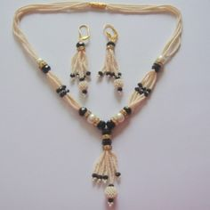 Pearl with Black color Beads Necklace with earring set