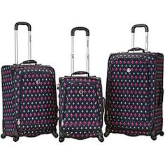 @Overstock - The Rockland deluxe fashion three-piece luggage set is ideal for the traveler that likes style, comfort, and durability. These bags have more packing capacity, a 360-degree spinning wheel system for trouble free maneuverability, and are easy to identify.http://www.overstock.com/Luggage-Bags/Rockland-Deluxe-Icon-3-piece-Spinner-Luggage-Set/6000306/product.html?CID=214117 $169.99