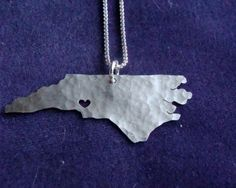 North Carolina State Necklace by ShopOhSoAntsy on Etsy, $48.00 get a heart over where ever youre from