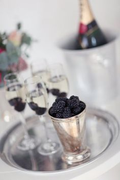 Champagne and blackberries