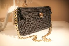 Black crochet purse with gold chain by CrochetGrace on Etsy