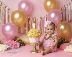 Pink and gold birthday banner - photography prop, cake smash, backdrop, curtain valance Ballon iDeen ? Baby Girl Birthday Cake, Baby Girl Cakes, Birthday Cake Smash, Gold Birthday, Birthday Balloons, Birthday Parties, Cake Baby, Birthday Backdrop, Birthday Table