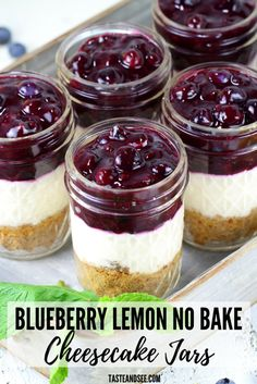 This Blueberry Lemon No Bake Cheesecake is an amazing dessert! Lightened up with a graham cracker almond crust, a sweet cream cheese lemony Greek yogurt layer, and a delightful homemade blueberry sauce. Desserts Blueberry Lemon No Bake Cheesecake Jars Mini Desserts, Mason Jar Desserts, Tolle Desserts, Cream Cheese Desserts, Mason Jar Meals, Cream Cheese Recipes, Keto Desserts, Summer Desserts, Easy Desserts