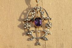 Edwardian Seed Pearl and Spinel 9ct Gold Lavalier. Pendant and pin. bottom leaves move, only 350. So nice- substantial yet delicate and feminine.