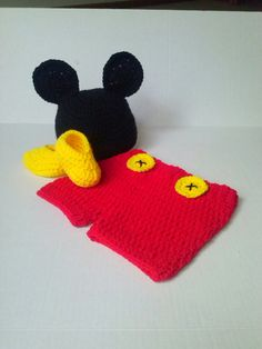 Newborn crochet Mickey Mouse Photo Prop by Amartebaby on Etsy... since our baby was made with Disneyland magic ;)