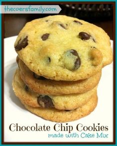 Chocolate Chip Cake Mix Cookies! These are fast and easy to make using boxed cake mix. Only 4 ingredients for delicious, chewy, moist, buttery cookies.