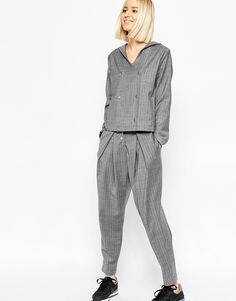 ASOS WHITE Awkward Length Trousers in Pinstripe