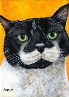 Dressed for Success ~ Tuxedo Cat Art