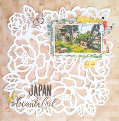 Diario de Loneta: Layout: Beautiful Japan Paper Place, Handmade Stamps, Scrapbooking, Layout, Japan, Artists, Beautiful, Frame, Crafts