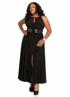 Ashley Stewart Sequin Detail Maxi Dress