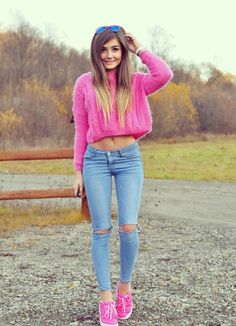 Fαshiση Gαlαxy 98 ☯: Pink knit sweater with skinny jeans