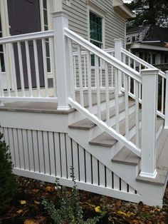 Painted White Vertical Wood Slats Backyard Ideas Deck Skirting From traditional lattice to modern wood slats, discover the top 50 best deck skirting ideas. Front Porch Stairs, Front Porch Design, Porch Steps, Deck Stairs, Front Deck, Deck Railings, Railing Ideas, Steps For Deck, Diy Front Porch Ideas