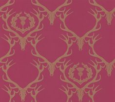 Deer Damask Claret (BG0100402) - Barneby Gates Wallpapers - A quirky wallpaper design featuring an all over damask design, made up of deer skulls and antlers. Shown here in the claret colour. Other colourways are available. Please request a sample for a true colour match. Wide width product. Large scale pattern repeat.