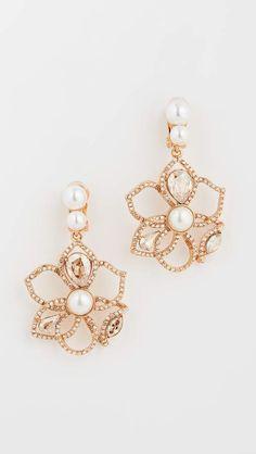 Oscar De La Renta Cut Out Pave Petal Earrings Jewelry Collection, Swarovski Crystals, Crochet Earrings, Floral Design, Jewelry Accessories, Fashion Jewelry, Pearl Earrings, Jewels, White Lace
