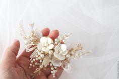 Купить Гребень свадебный с перламутром - белый, золотой, серебряный, свадебный гребень, свадебное украшение