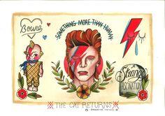 INSTAGRAM: jesssssssicat FACEBOOK: jessicatladytattoos BUY ARTWORK: thecatreturns.bigcartel.com David Bowie Ziggy Stardust tattoo flash ideas designs, rest in peace, Kewpie, grave stone, Bowie lighting bolt something more than human.