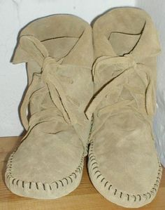 0857a6ee5ad2 EarthgardenHandmade lace up Moccasins ankle elf boots tan suede 7
