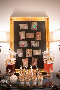 Photo display for a 1st birthday