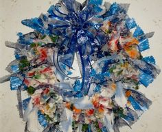 Blue Snowflake wonderland Christmas Wreath 75 inches around.$75.00