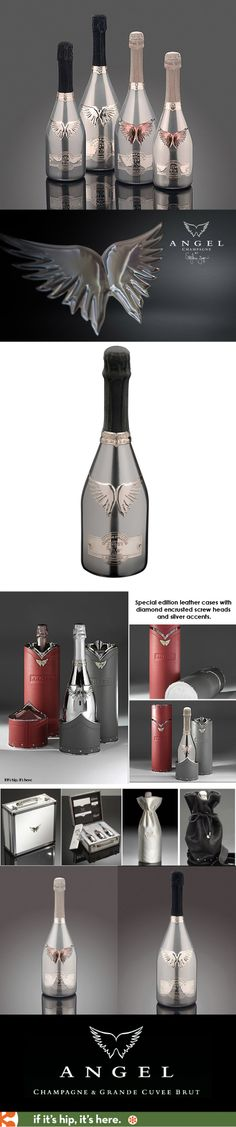 Every bottle of Angel Champagne is hand-crafted and 'finished' with silver and cut-glass labels, inset gems and platinum finished body. Each hand-finished bottle is unique.
