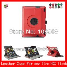Auto Wake Sleep Function, Rotating Smart Cover leather case For 2013 Amazon Kindle Fire HDX 7 Leather Case,Red $3~$3.27