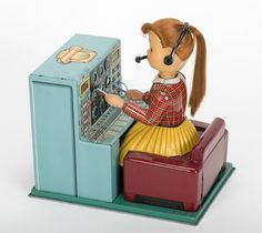 Neat! Telephone Switchboard Girl. Japan, Linemar, 1950s. Battery operated.