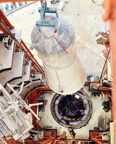 The Apollo 7 Command/Service Module and the Lunar Module Adapter are erected for mating to the Saturn booster at Cape Canaveral Air Force Station Launch Complex 34 on August 19, 1966. (Source: NASA)