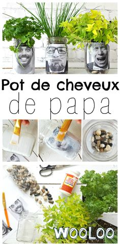Ce que je préfère de mon Pot de cheveux de papa c'est qu'on peut s'amuse… My favorite part of my Daddy's Pot is that you can have fun creating a new haircut as the plant grows, and that makes me really laugh. Diy Hanging Shelves, Diy Wall Shelves, Floating Shelves Diy, Pot Mason Diy, Mason Jar Crafts, Mason Jars, Diy Home Decor Projects, Diy Projects To Try, Art Projects
