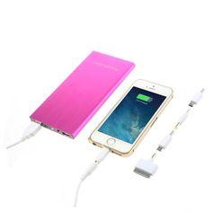Power Bank 12000 mAh 2 USB color rosa con linterna  y accesorios #friki #android #iphone #computer #gadget